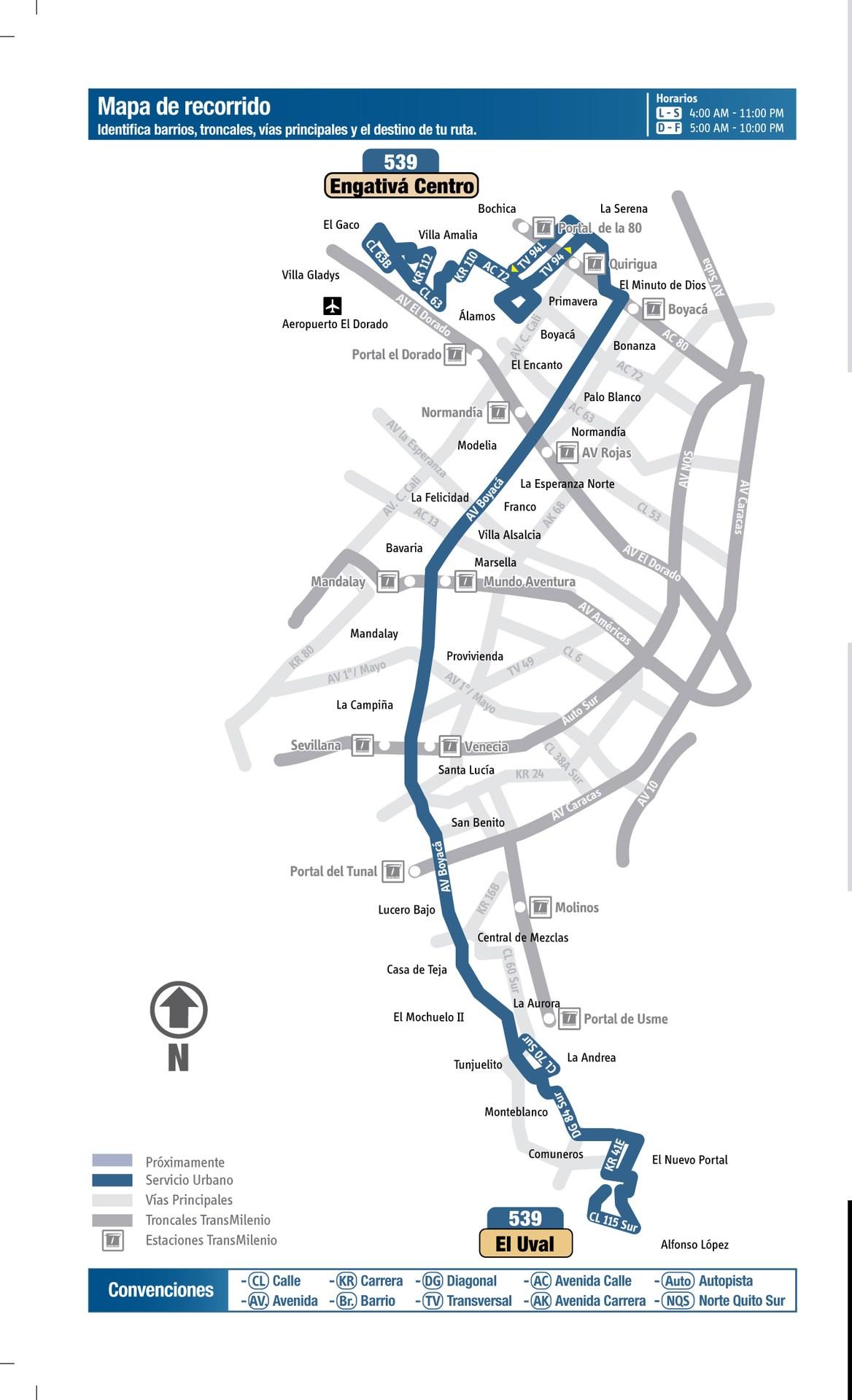 Ruta SITP: 539 Engativá Centro ↔ El Uval [Urbana] 6