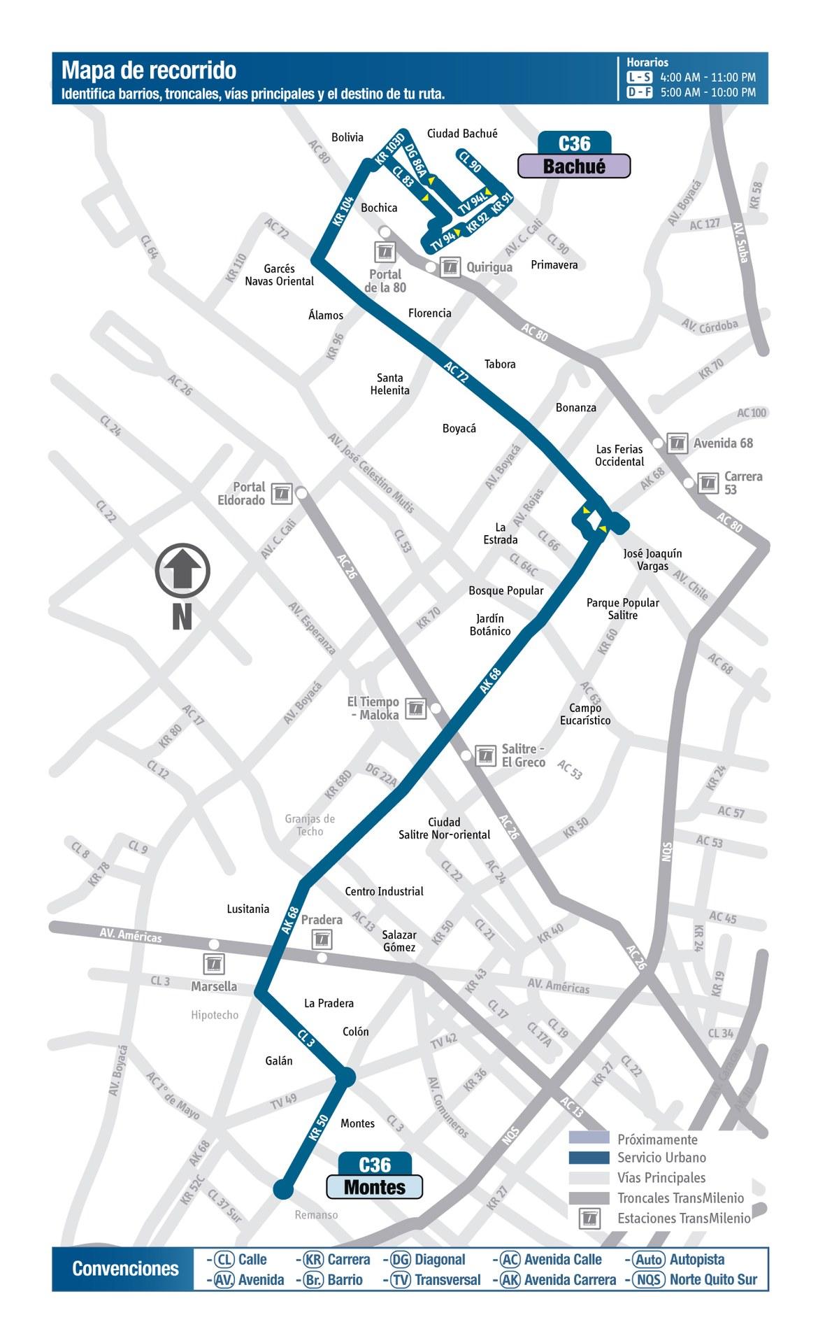 Ruta SITP: C36 Bachué ↔ Montes [Urbana] 3