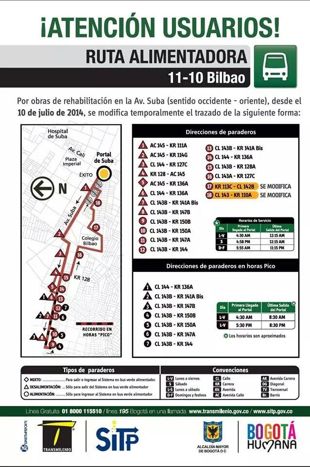 Desvío temporal ruta alimentaadora 11-10 Bilbao