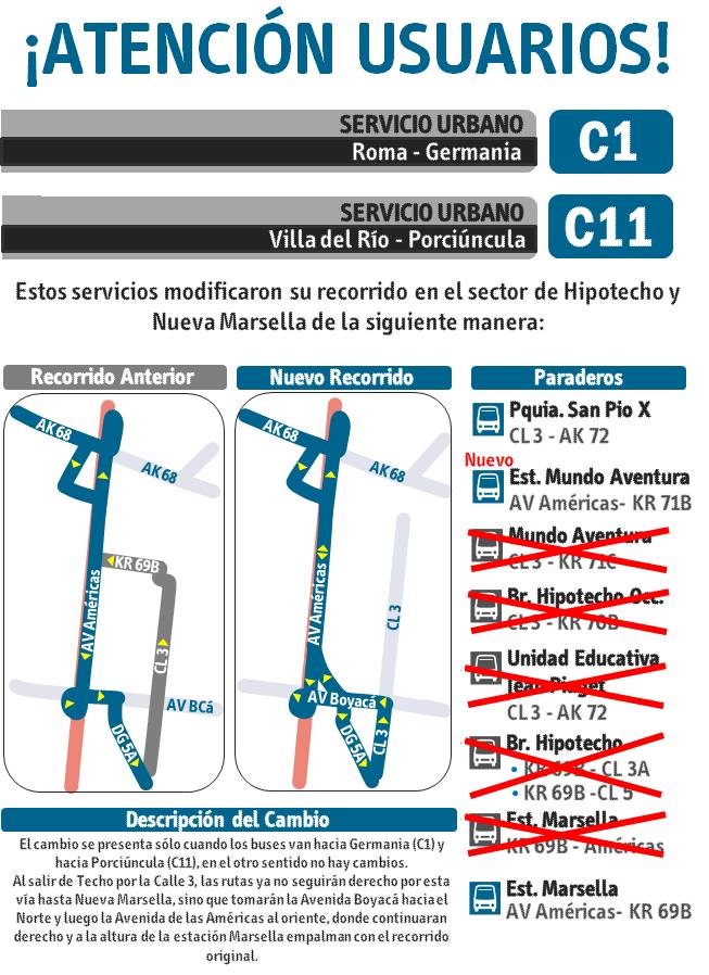 Desvíos rutas urbana C1 y C11