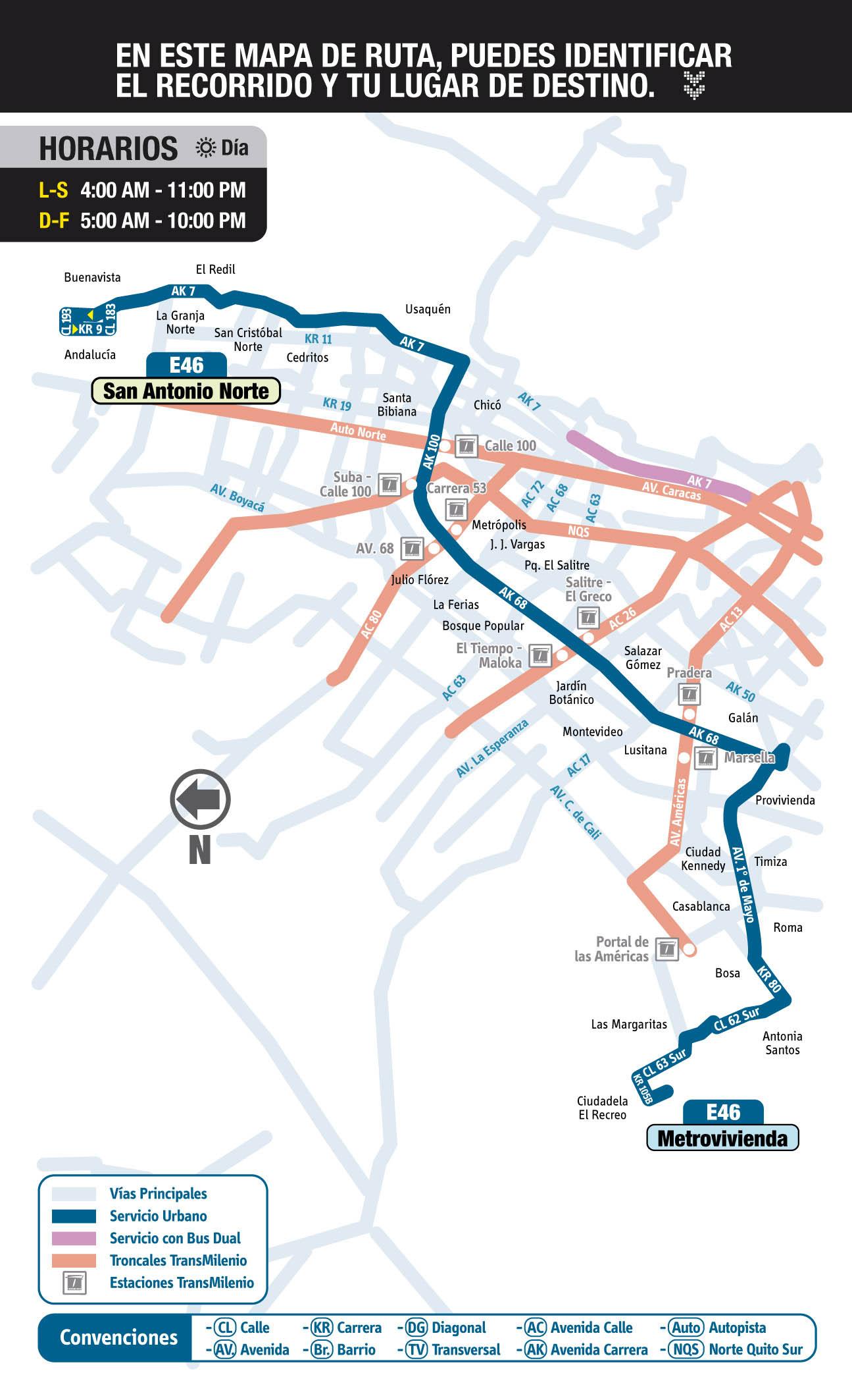 E46 - mapap urbano de la ruta del SITP