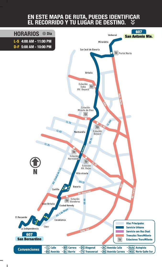 Mapa esquemático ruta urbana SITP - 607