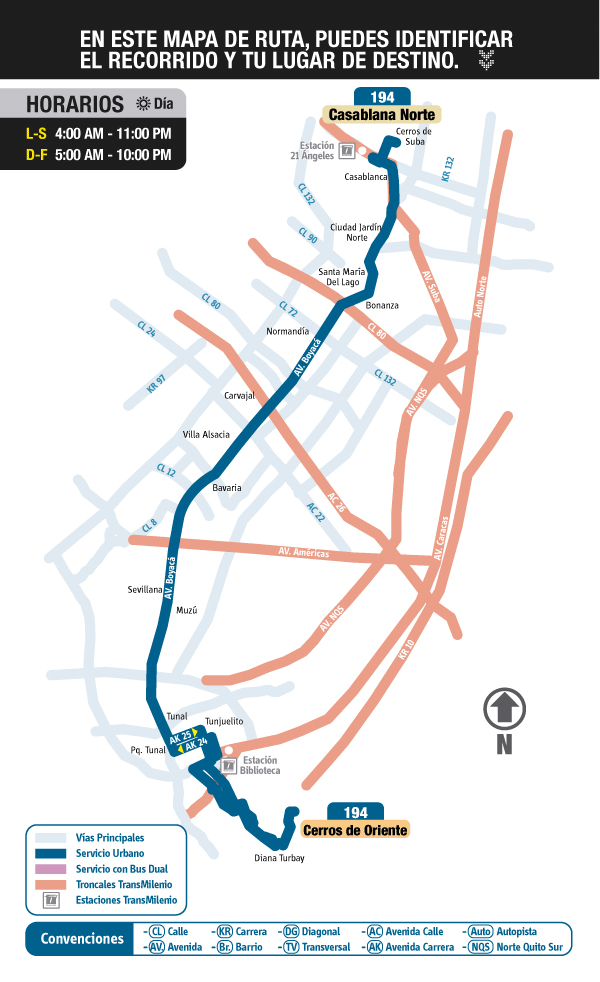 Mapa (esquema) ruta 194 Casablanca Norte - Cerros de Oriente