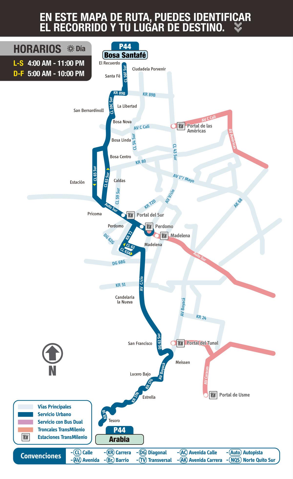 Mapa esquemático ruta urbana P44