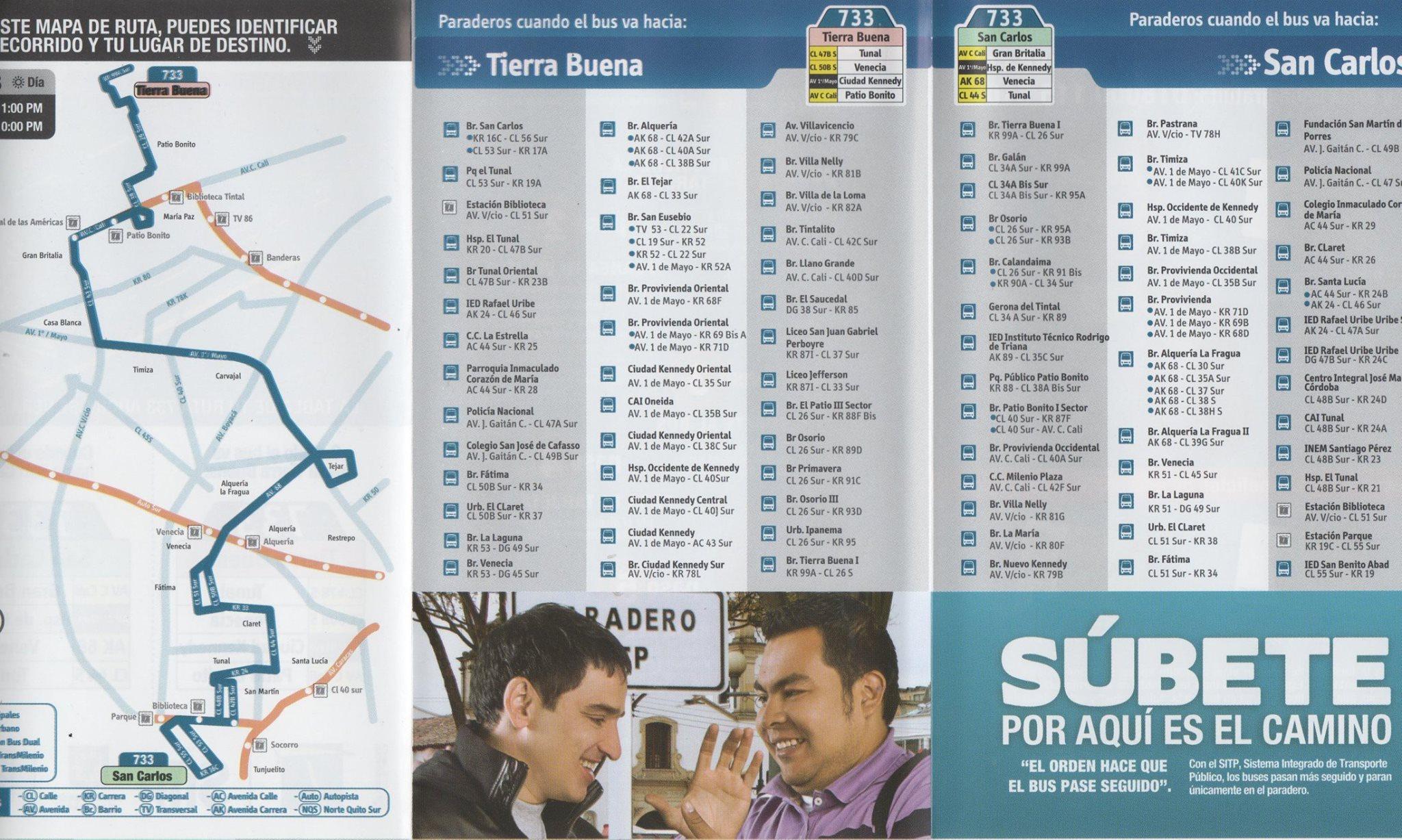 Ruta SITP Urbana - 733