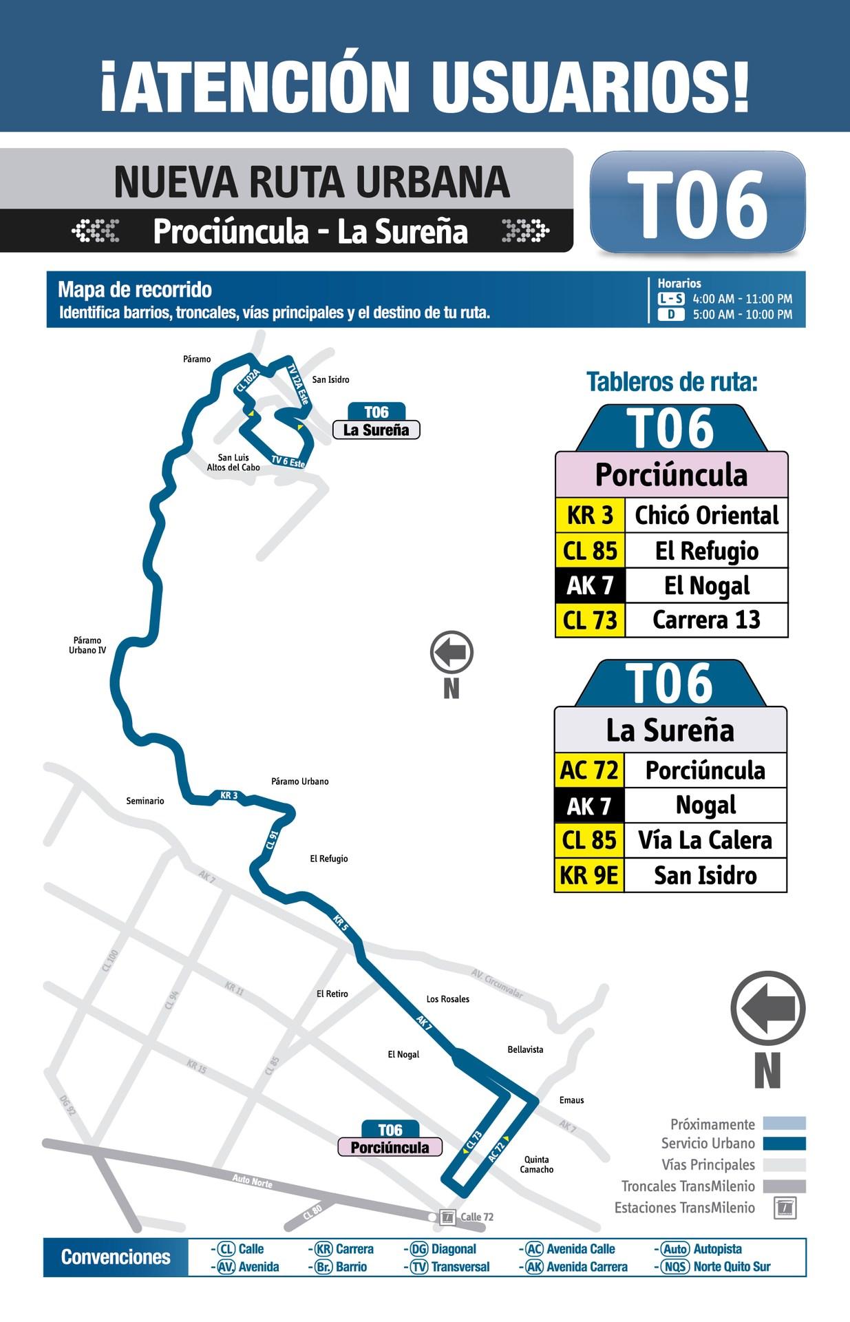 Ruta SITP: Ruta T06 Sureña ↔ Porciúncula [Urbana] 2