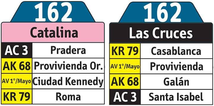 Tablas de la ruta urbana 162