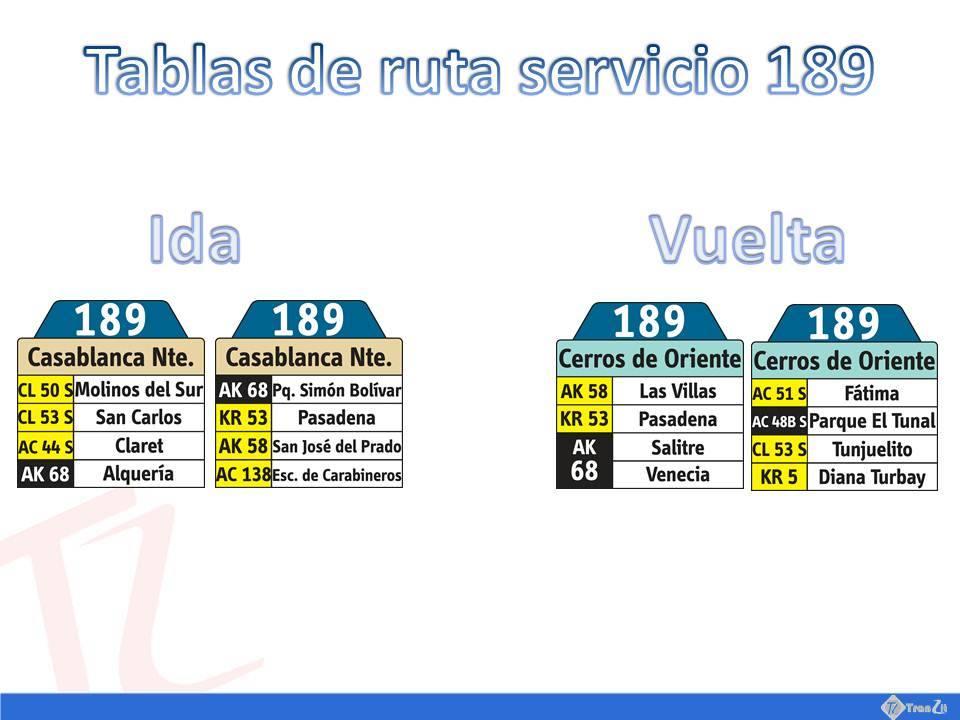 Tablas de ruta urbana 189