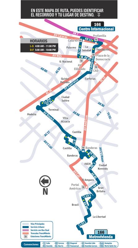 Mapa ruta urbana 166