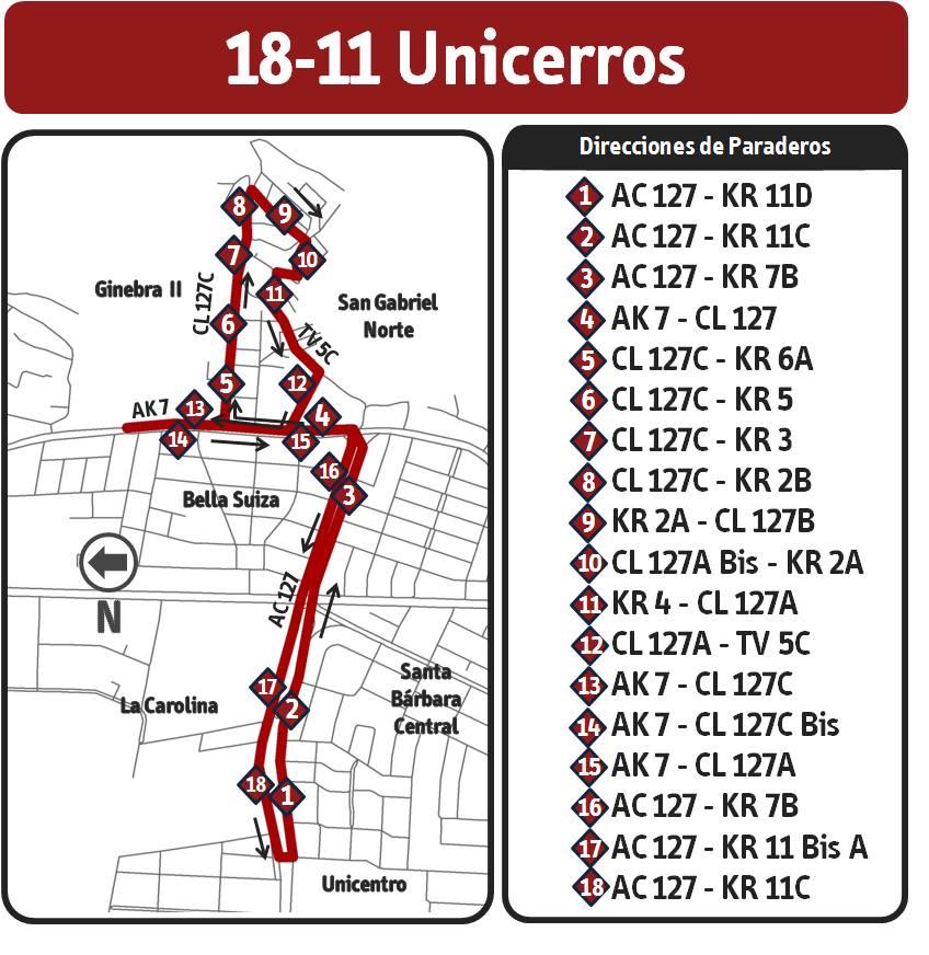 18-11 Ruta Unicerros nuevo recorrido 5 agosto