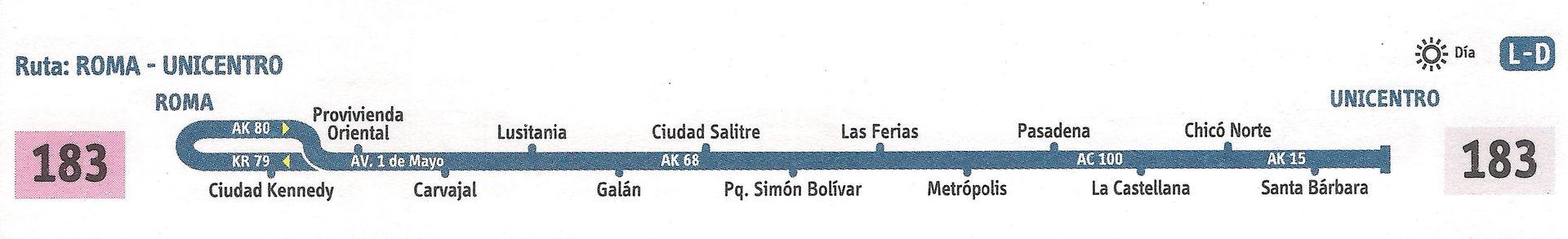Ruta SITP: 183 Roma ↔ Unicentro (La Floresta) [Urbana] 2