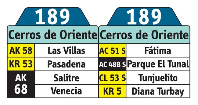 Tablas de la ruta del SITP 189 urbana hacia Cerros de Oriente