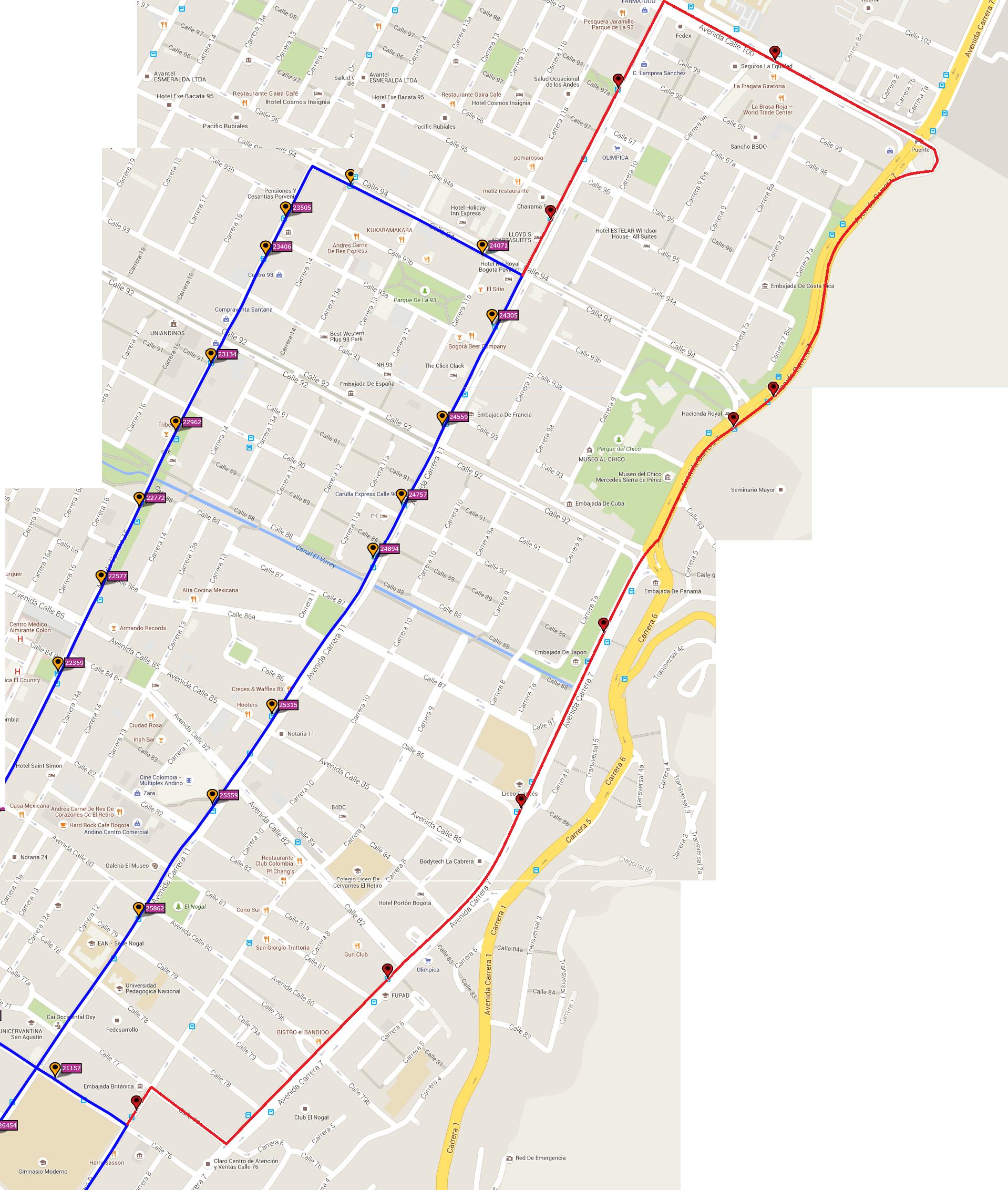 Ruta SITP: 265 Tierra Buena ↔ Chicó Norte [Urbana] 5