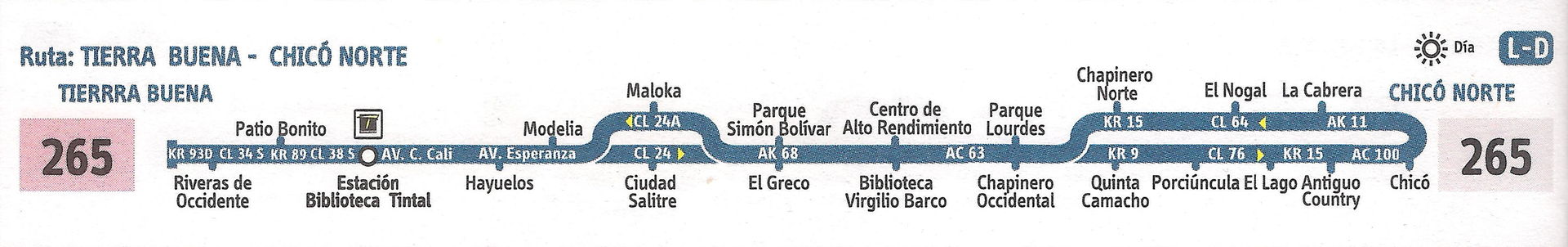 Ruta SITP: 265 Tierra Buena ↔ Chicó Norte [Urbana] 8