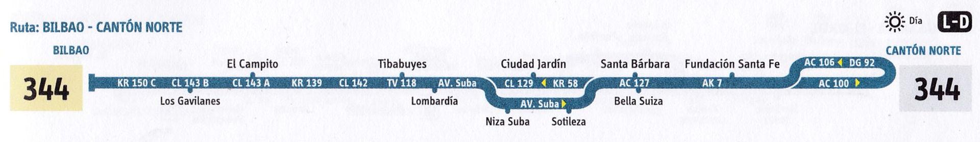 Ruta SITP: 344 Bilbao ↔ Cantón Norte [Urbana] 5
