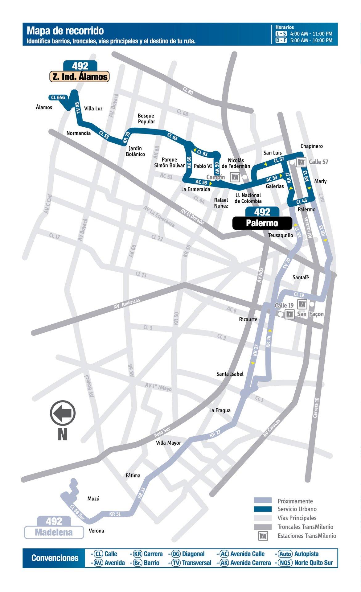 Ruta SITP: 492 Zona Industrial Álamos ↔ Madelena (Palermo) [Urbana] 6