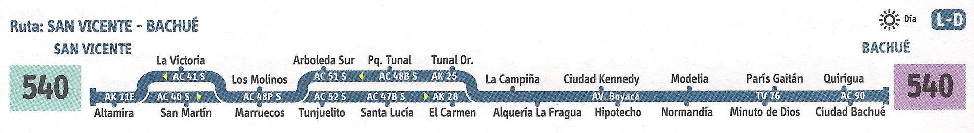 Ruta SITP: 540 Bachué ↔ San Vicente [Urbana] 3