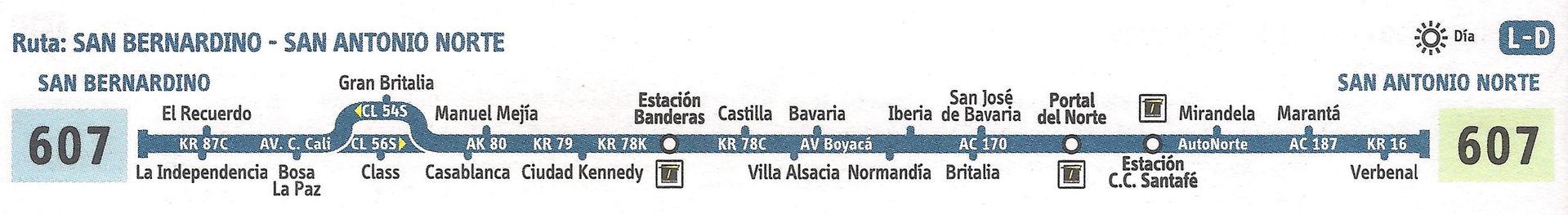 Ruta SITP: 607 Bosa, La Independencia ↔ San Antonio Norte [Urbana] 4