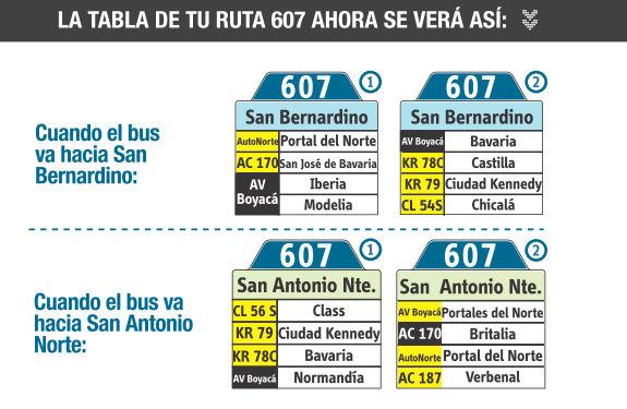 Ruta SITP: 607 Bosa, La Independencia ↔ San Antonio Norte [Urbana] 6