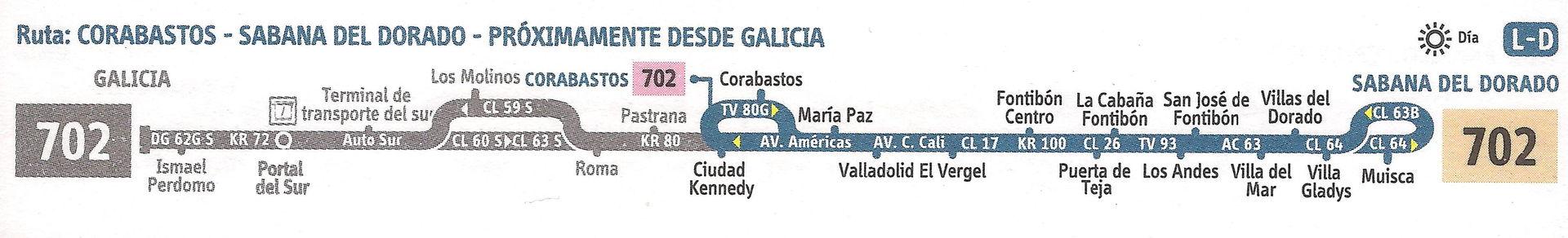 Ruta SITP: 702 Corabastos ↔ Sabana del Dorado [Urbana] 2