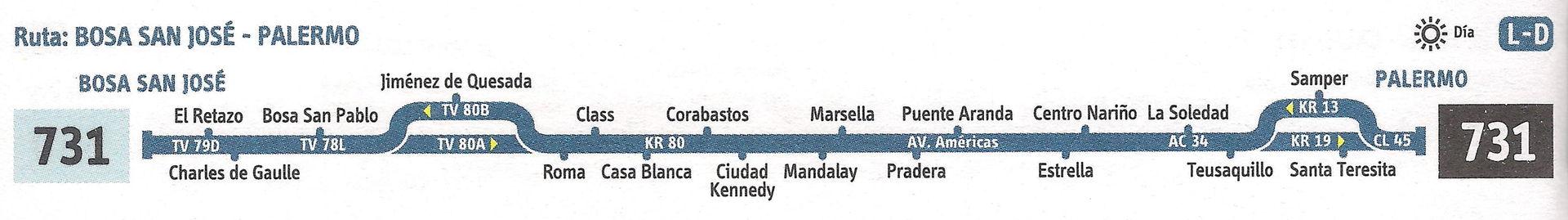 Ruta SITP: 731 Bosa, San José ↔ Palermo [Urbana] 1
