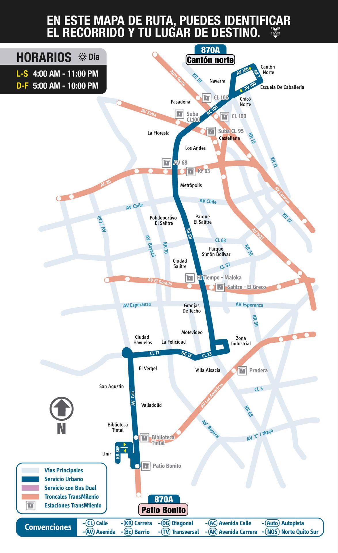 Ruta SITP: 870A Patio Bonito ↔ Cantón Norte (Floresta) [Urbana] 2