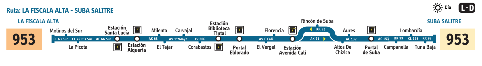 Ruta SITP: 953 La Fiscala Alta ↔ Suba Salitre [Urbana] 2