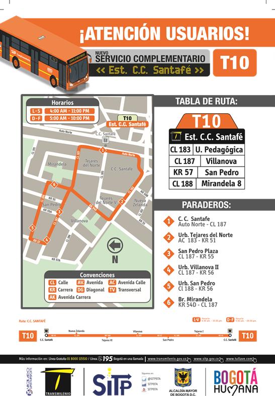 Mapa bus complementario T10