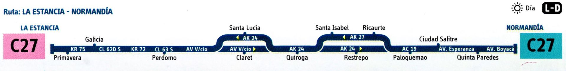 Ruta SITP: C27 La Estancia ↔ Normandía [Urbana] 3