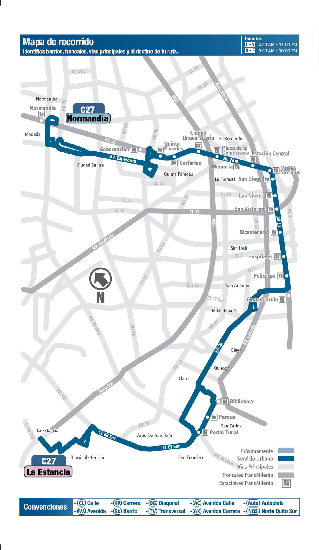 Ruta SITP: C27 La Estancia ↔ Normandía [Urbana] 1