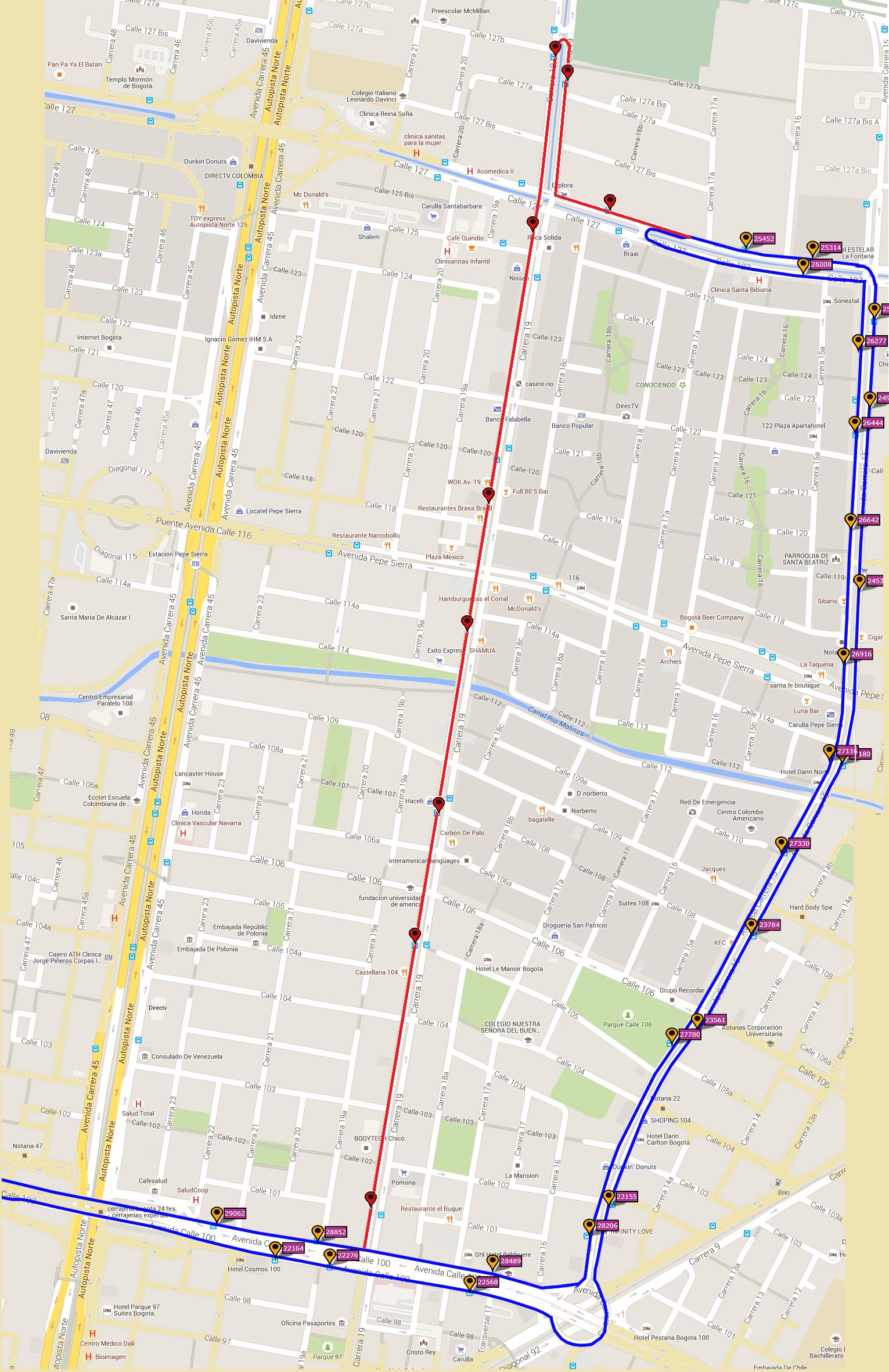 Ruta SITP: C53 Acacias Sur ↔ Unicentro [Urbana] 5