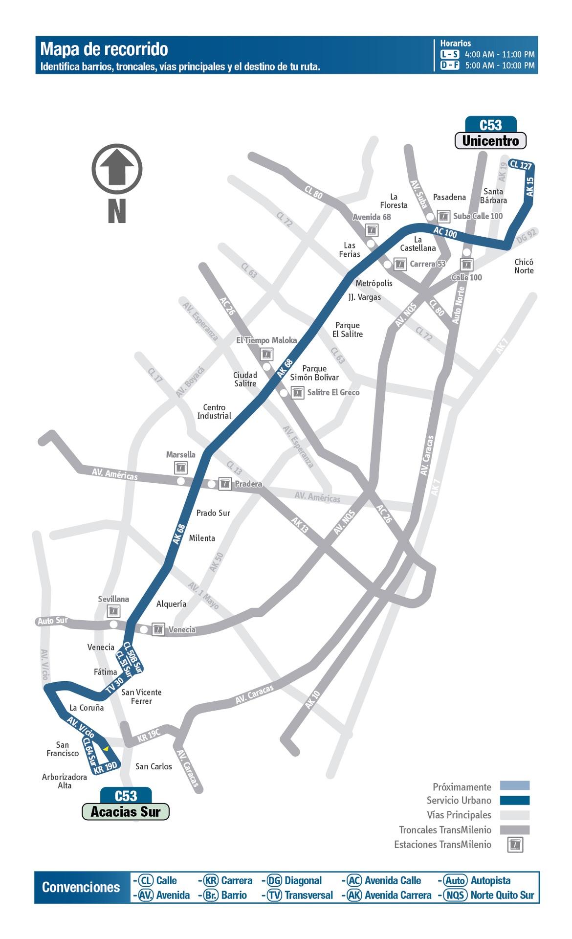 Ruta SITP: C53 Acacias Sur ↔ Unicentro [Urbana] 2