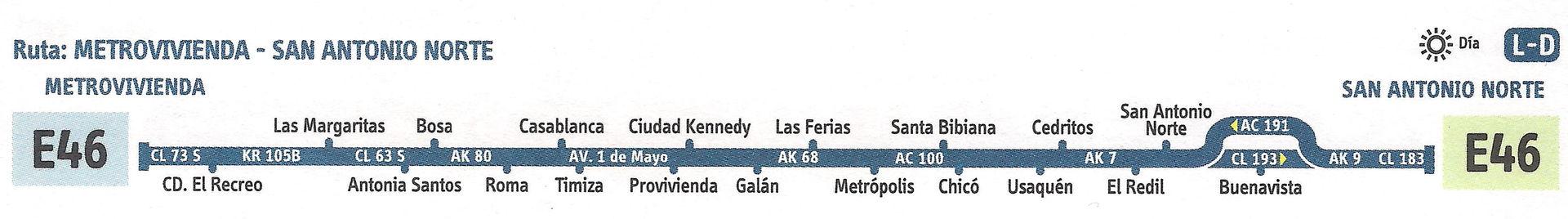Ruta SITP: E46 Metrovivienda ↔ San Antonio Norte [Urbana] 1