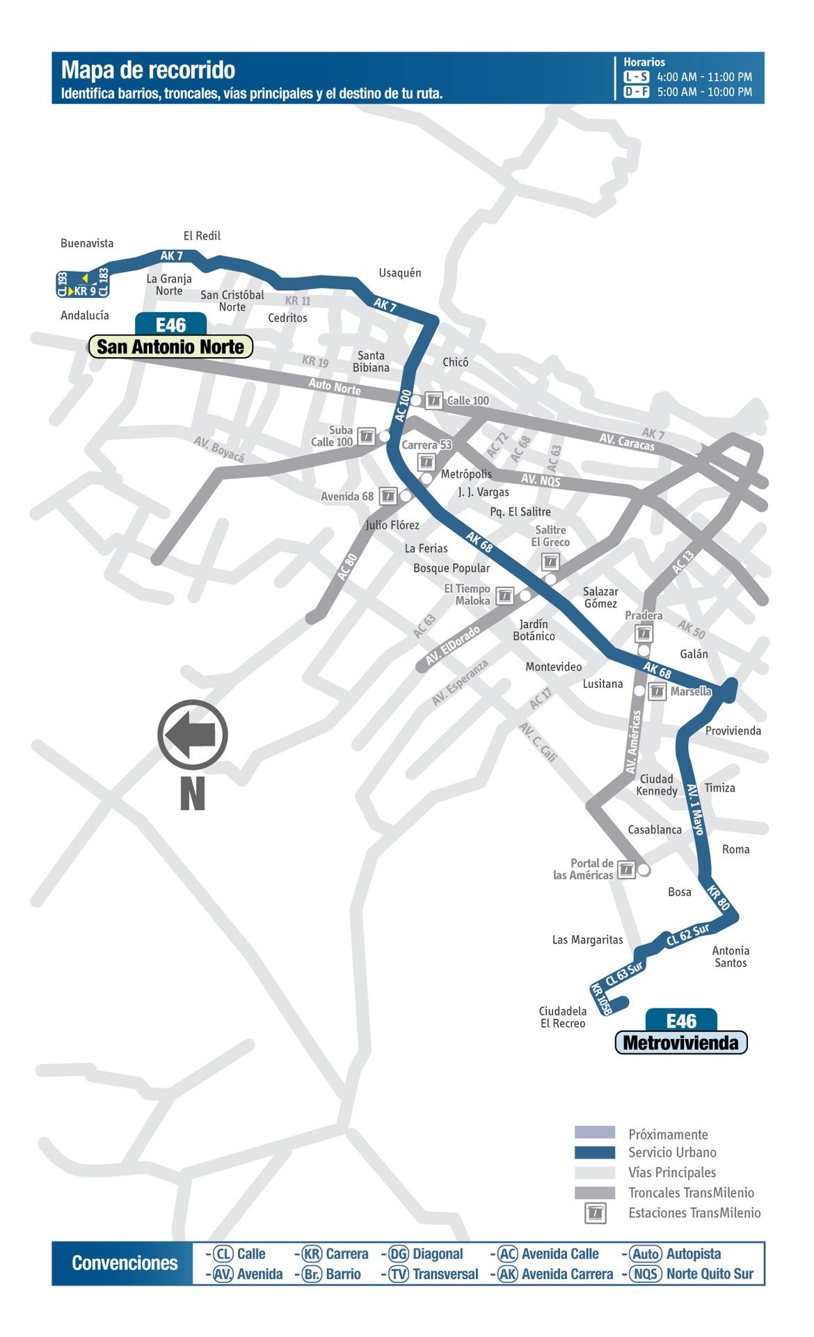 Ruta SITP: E46 Metrovivienda ↔ San Antonio Norte [Urbana] 2