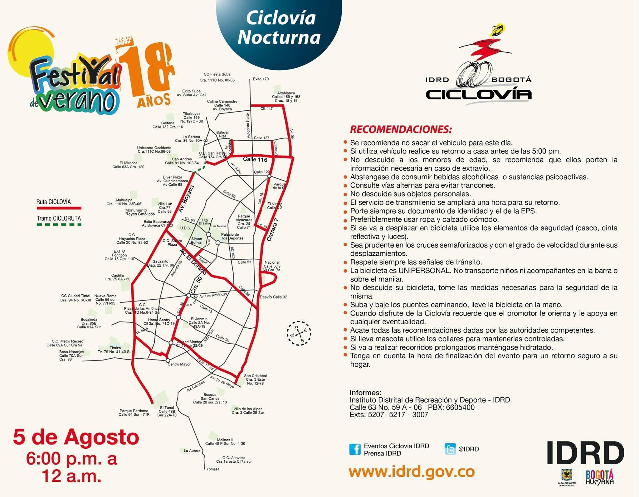 Mapa ciclovía nocturna 2014