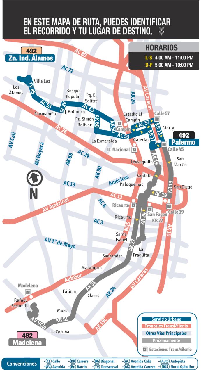 Mapa diagrama de la ruta 492 extraoficial