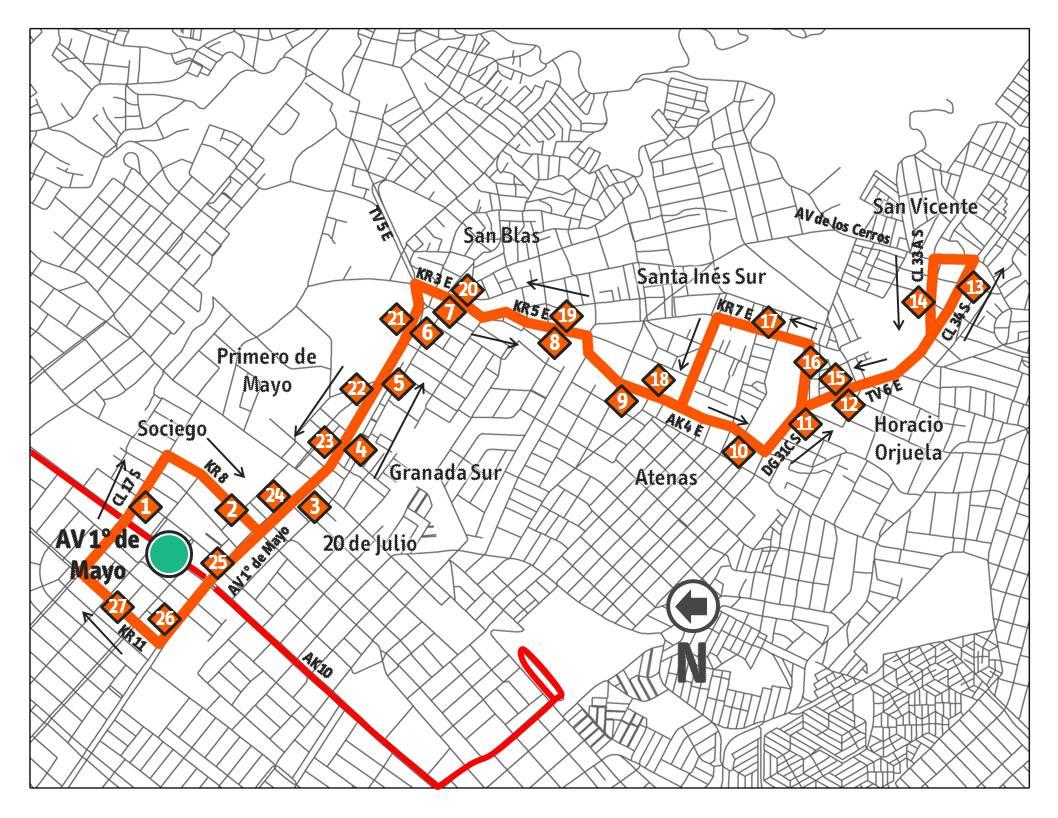 Ruta 15-3 Horacio Orjuela extendida San Vicente