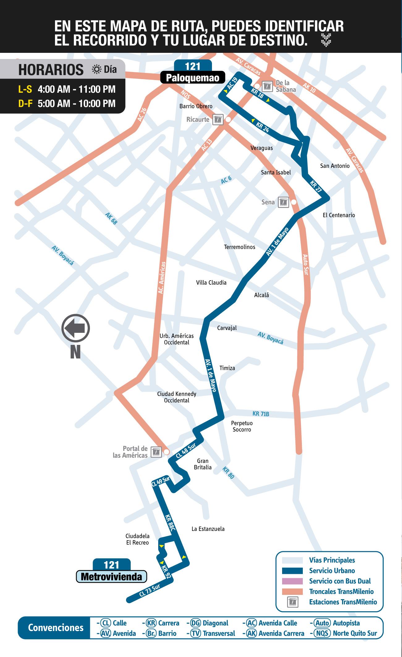 Mapa esquemático oficial de la ruta urbana del SITP 121