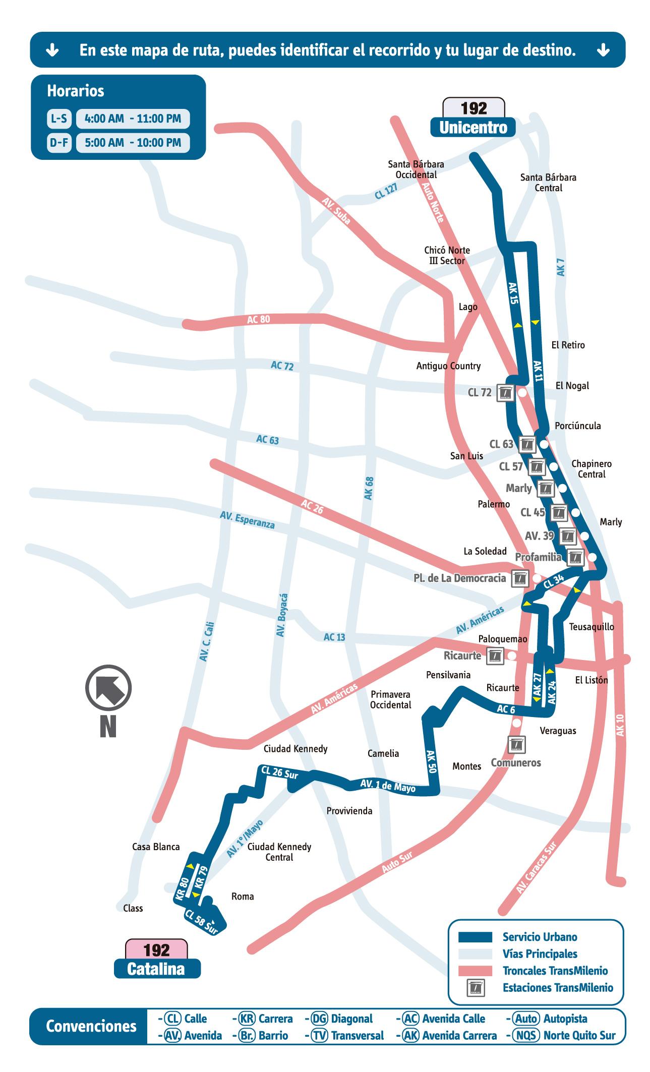 Mapa ruta urbana del SITP - 192 Catalina - Unicentro