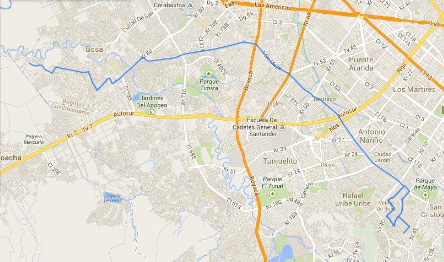 Mapa (fanart) de la ruta C110 urbana del SITP