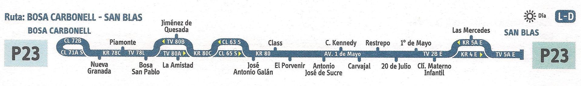 Ruta SITP: P23 Bosa Carbonell ↔ San Blas [Urbana]