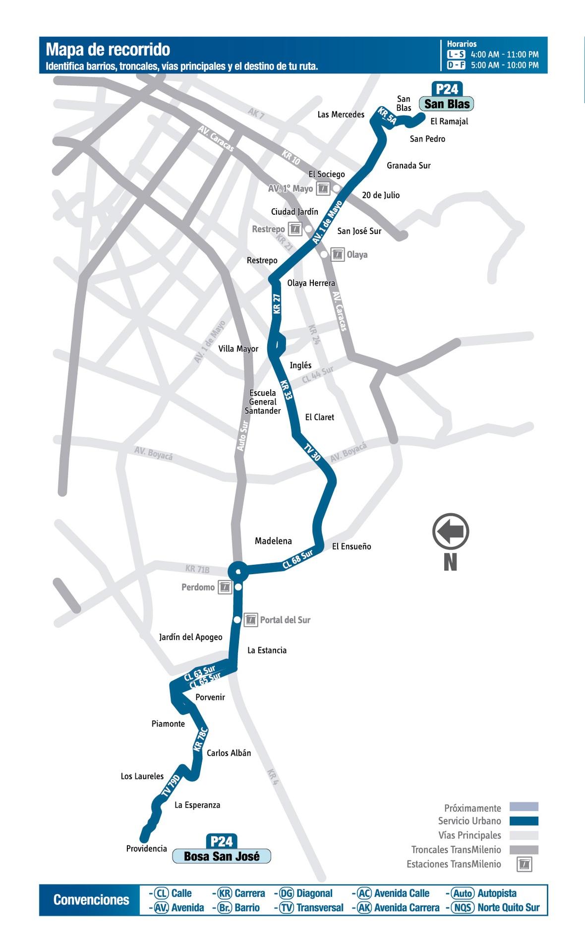 Ruta SITP: P24 Charles de Gaulle ↔ San Blas [Urbana]