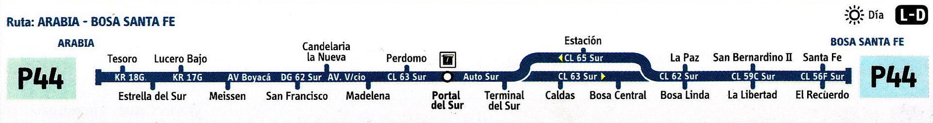 Ruta SITP: P44 Arabia ↔ Bosa Santafé [Urbana] 2