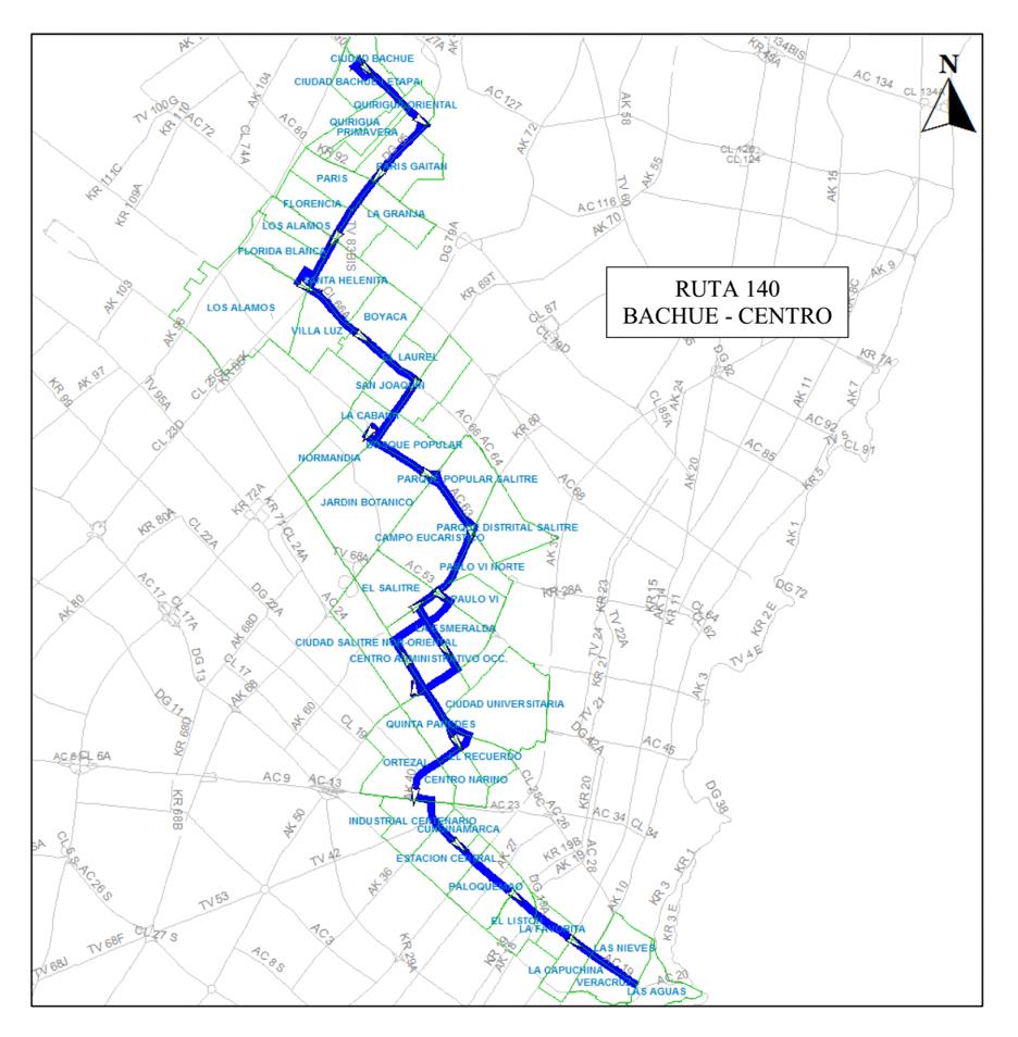 Mapa esquema ruta urbana 140 - original