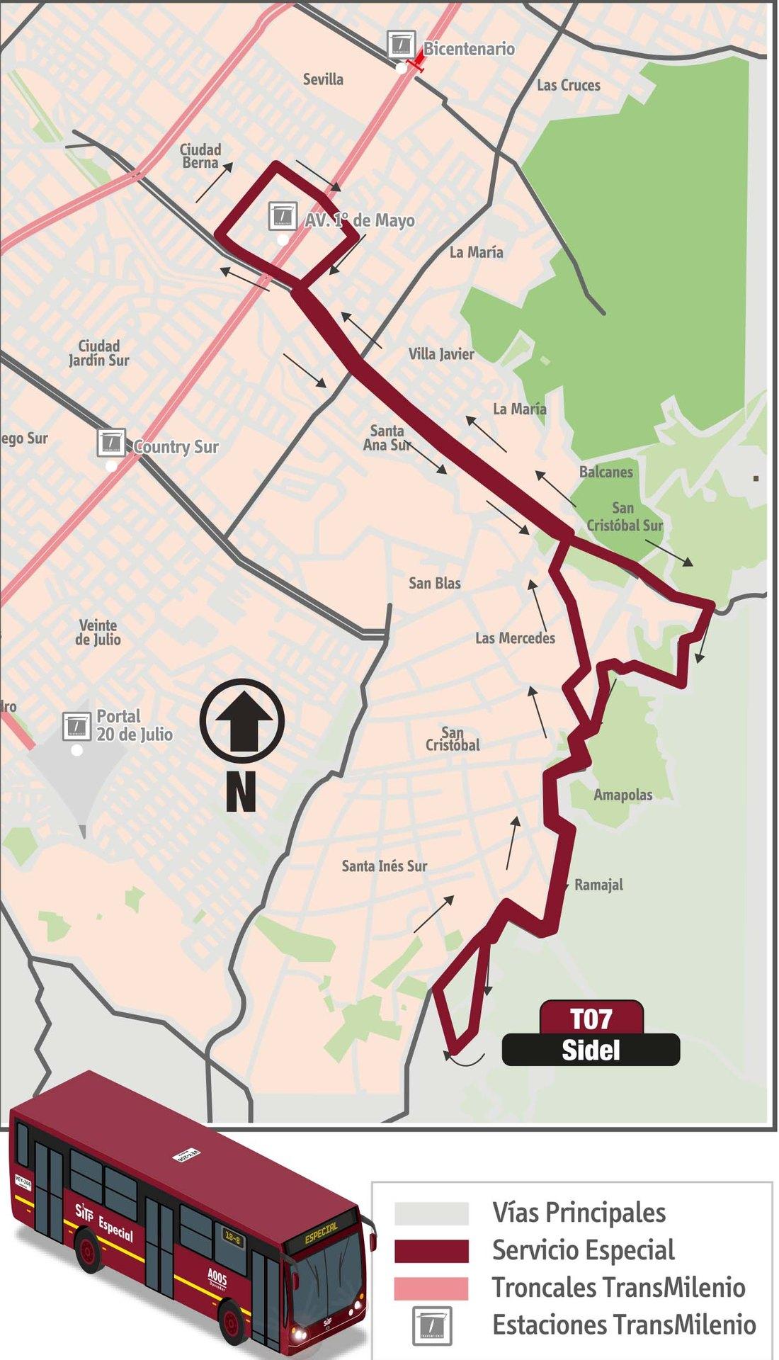 Ruta SITP: T07 Sidel [Especial]