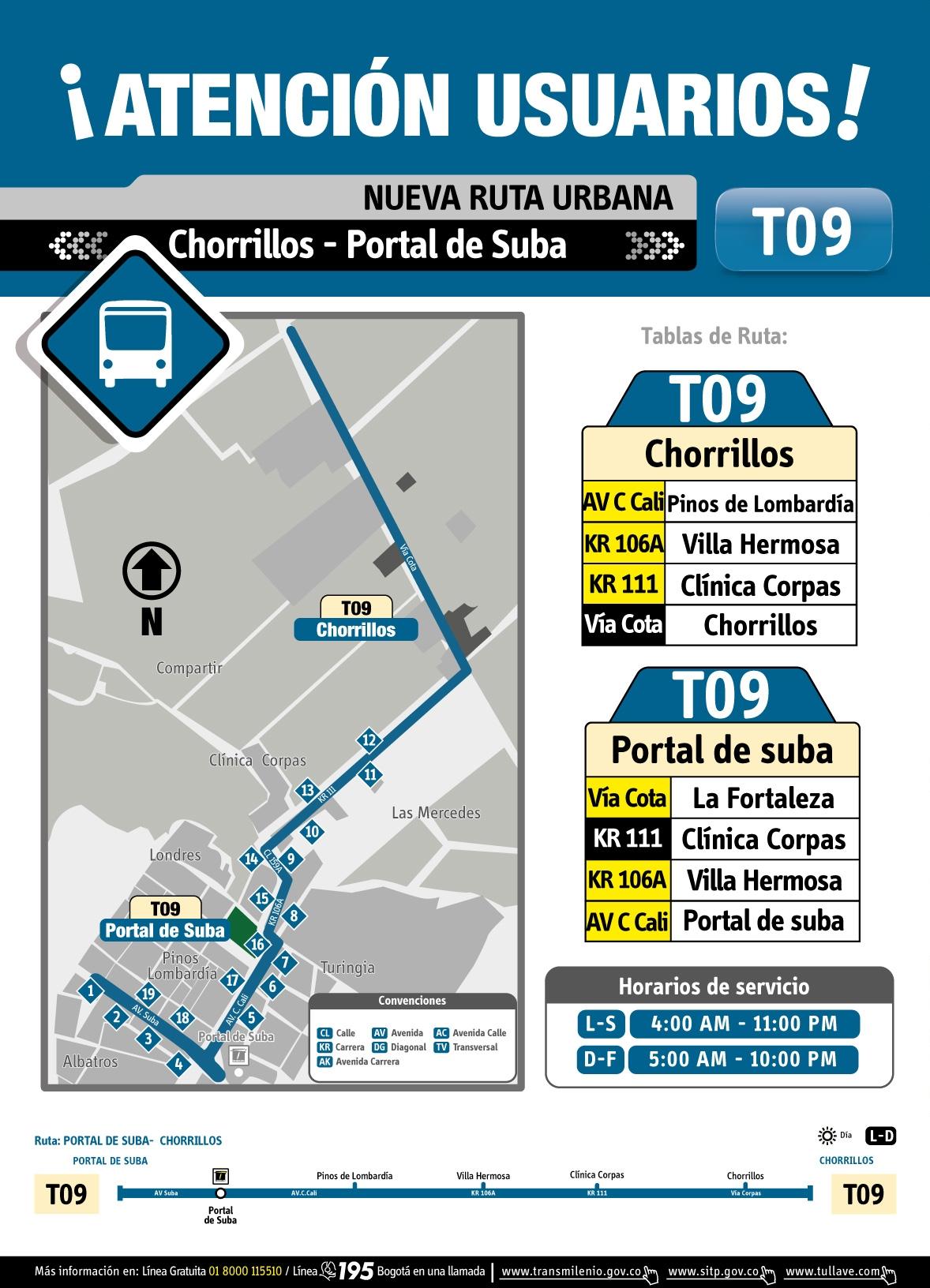 Mapa y volante ruta urbana T09