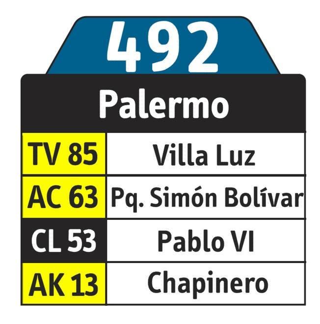 Tabla de ruta 492