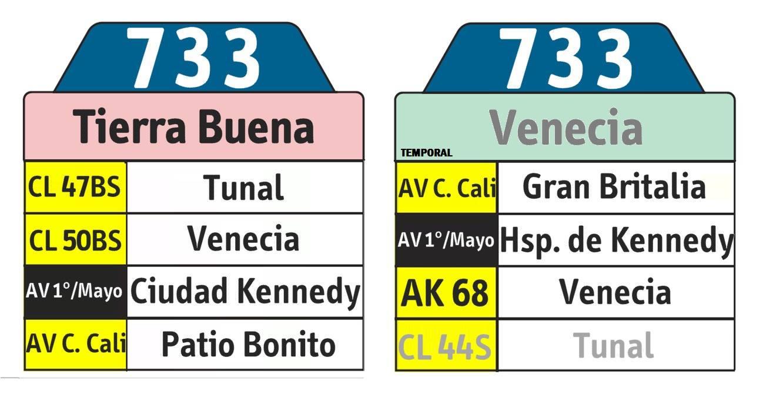 Tabla de la ruta urbana del SITP 733