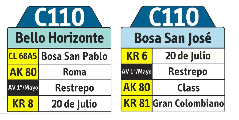 Tabla ruta urbana SITP - C110