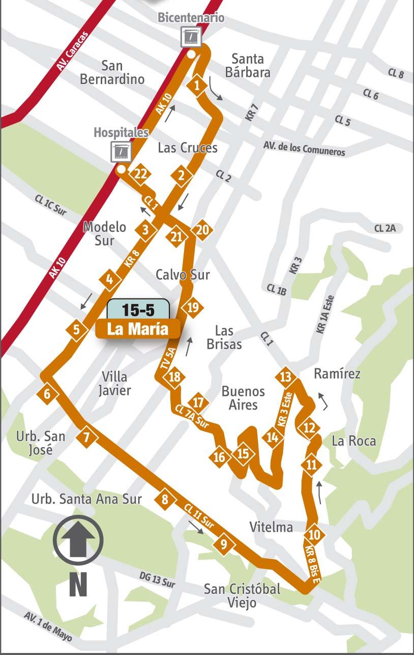 Ruta SITP: 15-5 La María [Complementaria] 1